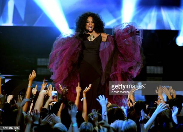 Honoree Diana Ross performs onstage during the 2017 American Music Awards at Microsoft Theater on November 19 2017 in Los Angeles California