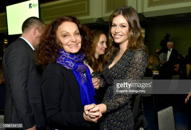 Honoree Diane von Furstenberg and Arianna Rosario attend the 2018 Rescue Dinner hosted by the IRC at New York Hilton Midtown on November 1 2018 in...