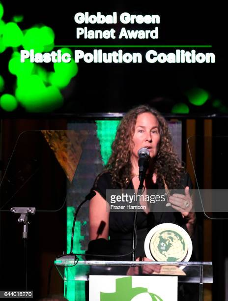Honoree Dianna Cohen speaks onstage during the 14th Annual Global Green Pre Oscar Party at TAO Hollywood on February 22 2017 in Los Angeles California