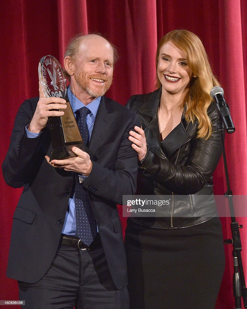 Honoree Director Ron Howard accepts award from presenter Bryce Dallas Howard onstage at the DGA Honors 2015 Gala on October 15, 2015 in New York City.