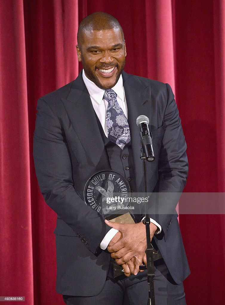 Honoree Director Tyler Perry pose with award at the DGA Honors 2015 Gala on October 15, 2015 in New York City.