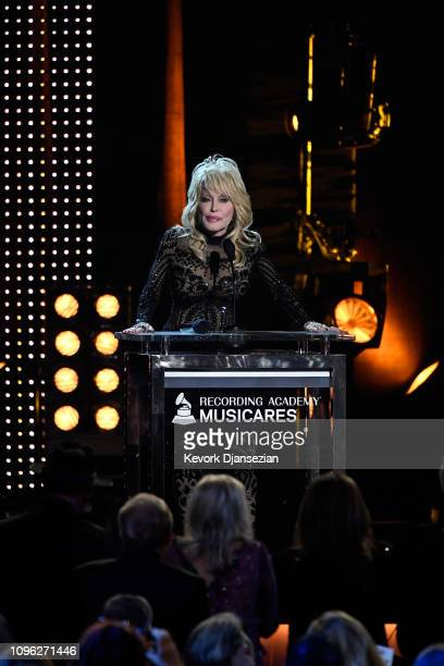 Honoree Dolly Parton accepts the 2019 MusiCares Person of the Year Award onstage during MusiCares Person of the Year honoring Dolly Parton at Los...