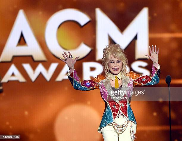 Honoree Dolly Parton accepts the Tex Ritter Award onstage during the 51st Academy of Country Music Awards at MGM Grand Garden Arena on April 3 2016...
