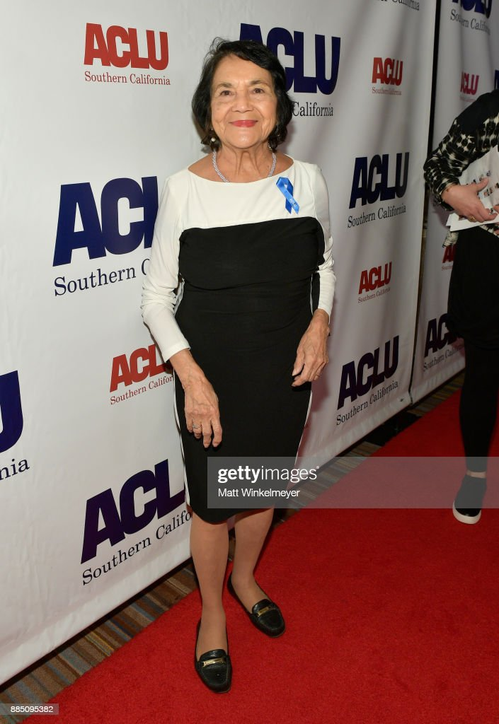 Honoree Dolores Huerta attends ACLU SoCal Hosts Annual Bill of Rights Dinner at the Beverly Wilshire Four Seasons Hotel on December 3, 2017 in Beverly Hills, California.