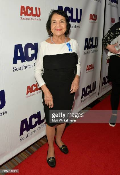 Honoree Dolores Huerta attends ACLU SoCal Hosts Annual Bill of Rights Dinner at the Beverly Wilshire Four Seasons Hotel on December 3 2017 in Beverly...