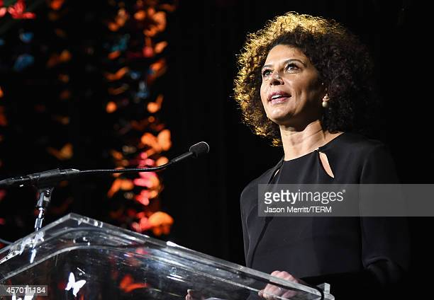 Honoree Donna Langley speaks onstage during the 2014 Variety Power of Women presented by Lifetime at Beverly Wilshire Four Seasons on October 10 2014...