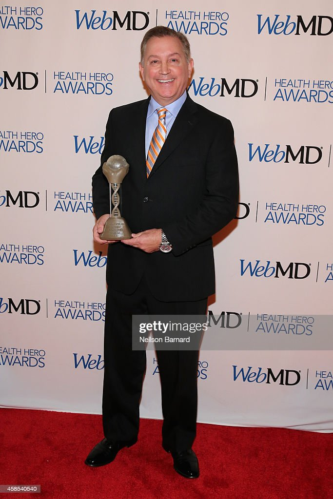 Honoree Dr. Frank Papay poses with an award backstage at the 2014 Health Hero Awards hosted by WebMD at Times Center on November 6, 2014 in New York City.