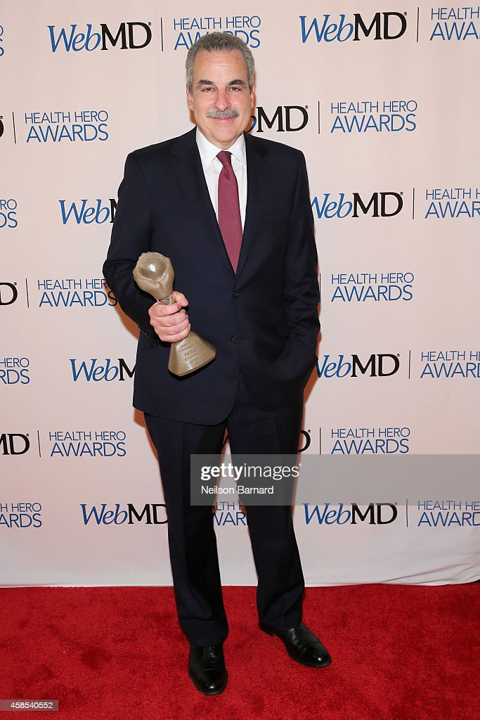 Honoree Dr. Harold S. Koplewicz poses with an award backstage at the 2014 Health Hero Awards hosted by WebMD at Times Center on November 6, 2014 in New York City.