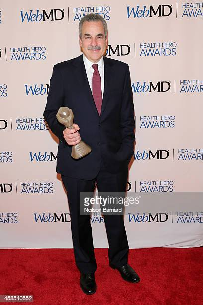 Honoree Dr Harold S Koplewicz poses with an award backstage at the 2014 Health Hero Awards hosted by WebMD at Times Center on November 6 2014 in New...