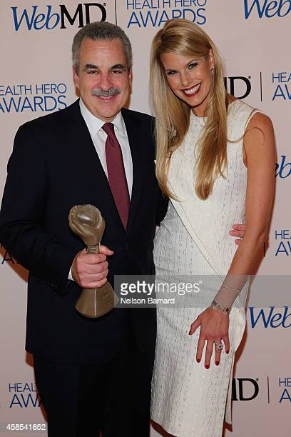 Honoree Dr Harolds S Koplewicz and TV personality Beth Stern pose backstage with an award at the 2014 Health Hero Awards hosted by WebMD at Times...
