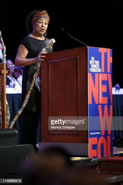 Honoree Dr Marta Moreno Vega accepts an award onstage during the 32nd Anniversary Celebrating Women Breakfast at Marriott Marquis on May 14 2019 in...