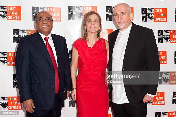 Honoree Dr Mo Ibrahim WITNESS executive director Yvette Alberdingk Thijm and Peter Gabriel attend the 2013 Focus For Change gala benefiting WITNESS...