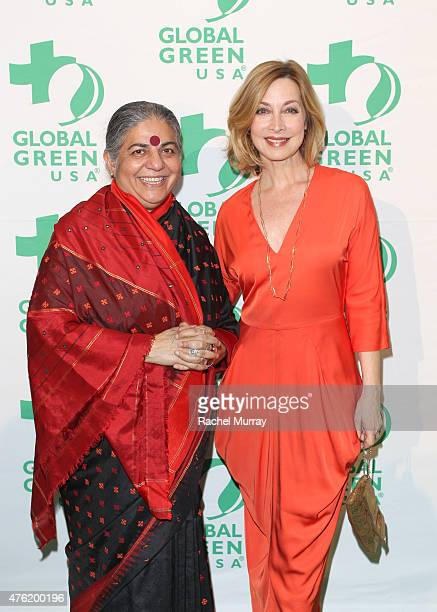 Honoree Dr Vandana Shiva and presenter Sharon Lawrence attend the Global Green USA 19th Annual Millennium Awards on June 6 2015 in Century City...