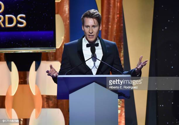Honoree Dustin Lance Black accepts the 2018 Valentine Davies Award onstage during the 2018 Writers Guild Awards LA Ceremony at The Beverly Hilton...