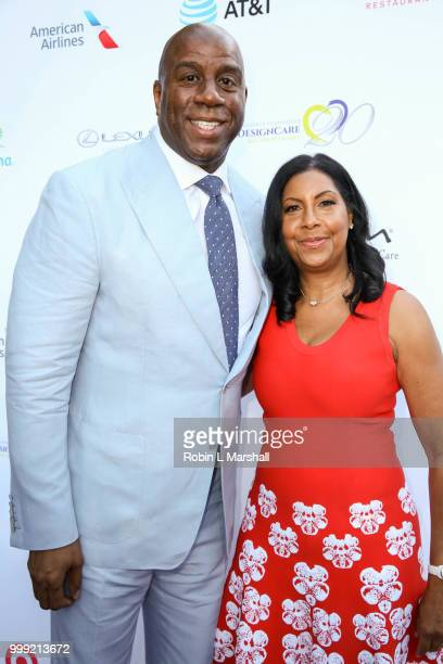 Honoree Earvin Magic Johnson NBA and wife Cookie Johnson attend The HollyRod Foundation's 20th Annual DesignCare Gala at Private Residence on July 14...
