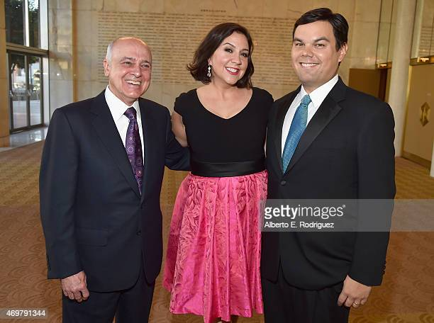 Honoree Ed Nowak and songwriters Kristen AndersonLopez and Robert Lopez attend The Los Angeles Children's Chorus' Annual Gala Bel Canto honoring Ed...