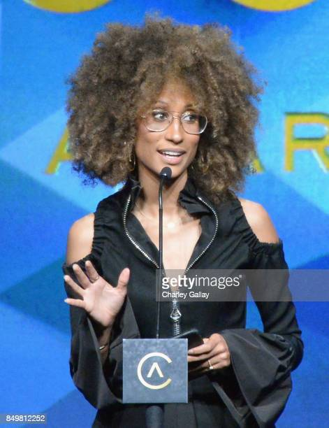 Honoree Elaine Welteroth, winner of the Catalyst Award, speaks onstage during the 11th Annual ADCOLOR Awards at Loews Hollywood Hotel on September...