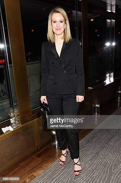 Honoree Elizabeth Holmes attends the 2015 Glamour Women of The Year Awards dinner hosted by Cindi Leive at The Rainbow Room on November 9 2015 in New...