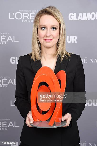 Honoree Elizabeth Holmes poses backstage with her award at the 2015 Glamour Women Of The Year Awards at Carnegie Hall on November 9 2015 in New York...