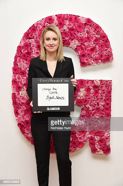 Honoree Elizabeth Holmes poses for a photo at the backstage inspiration wall at the 2015 Glamour Women of the Year Awards at Carnegie Hall on...