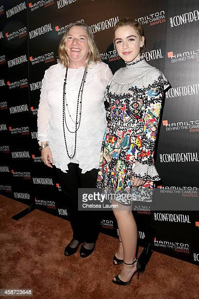 Honoree Ellen Freund and actress Kiernan Shipka attend The 2014 Hamilton Behind the Camera Awards presented by Hamilton Watch and LA Confidential at...