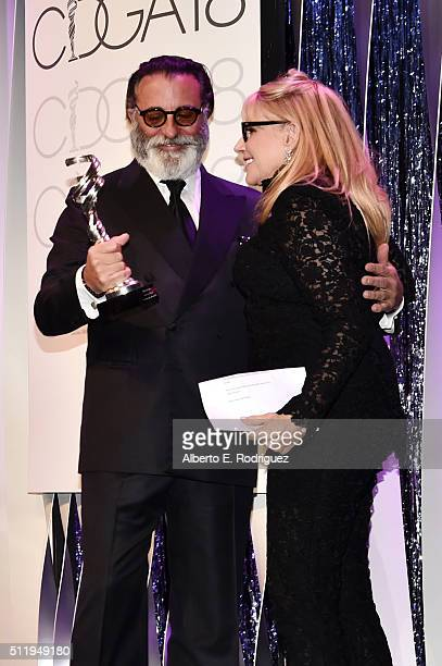 Honoree Ellen Mirojnick accepts the Career Achievement Award from actor Andy Garcia onstage during the 18th Costume Designers Guild Awards with...