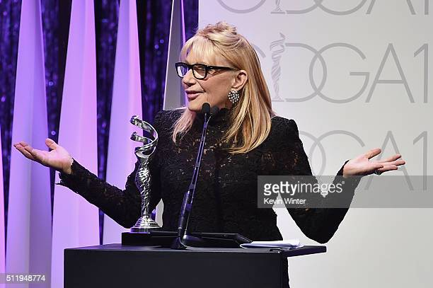 Honoree Ellen Mirojnick accepts the Career Achievement Award onstage during the 18th Costume Designers Guild Awards with Presenting Sponsor LACOSTE...