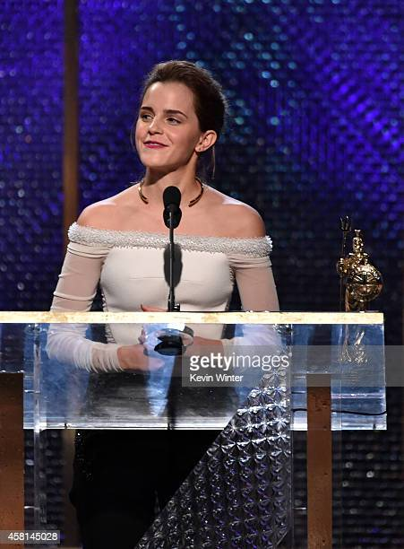 Honoree Emma Watson accepts the Britannia Award for British Artist of the Year Presented by Burberry onstage during the BAFTA Los Angeles Jaguar...