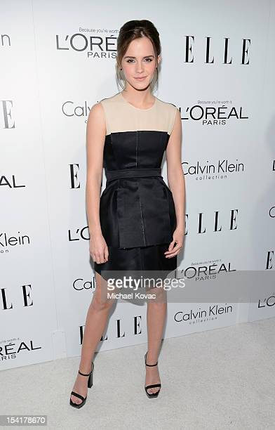 Honoree Emma Watson arrives at ELLE's 19th Annual Women In Hollywood Celebration at the Four Seasons Hotel on October 15 2012 in Beverly Hills...