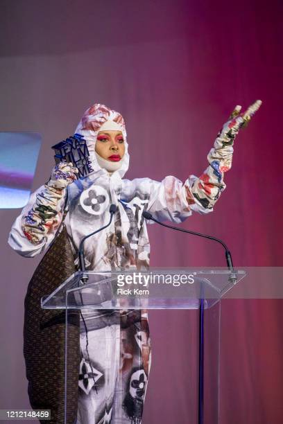Honoree Erykah Badu accepts an award at the Austin Film Society's Texas Film Awards 20th Anniversary at Austin Studios on March 12 2020 in Austin...