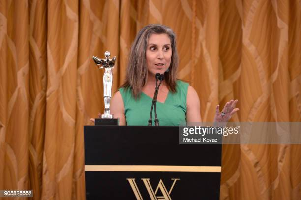 Honoree Esther Pearl poses with the Lumiere Technology Award at the Advanced Imaging Society 2018 Lumiere Technology Awards Featuring The...