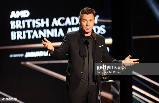 Honoree Ewan McGregor accepts the Humanitarian Award onstage during the 2016 AMD British Academy Britannia Awards presented by Jaguar Land Rover and...
