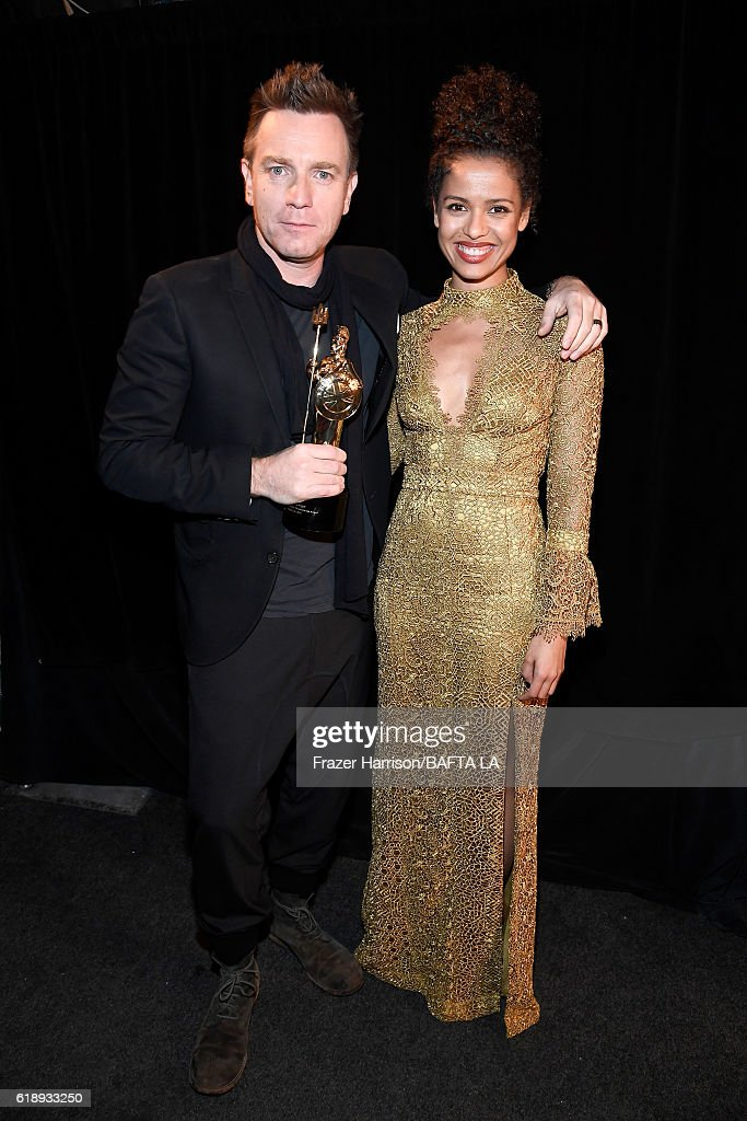 Honoree Ewan McGregor (L) and actress Gugu Mbatha-Raw attend the 2016 AMD British Academy Britannia Awards presented by Jaguar Land Rover and American Airlines at The Beverly Hilton Hotel on October 28, 2016 in Beverly Hills, California.