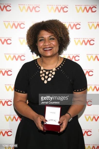 Honoree Fatima Goss Graves poses with her WMC Progressive Women's Voices IMPACT Award during the 2018 Women's Media Awards at Capitale on November 1...