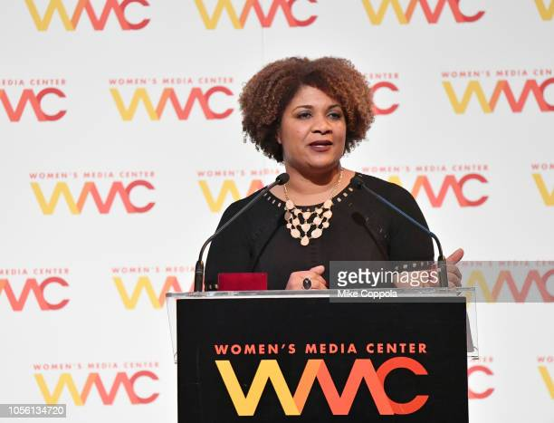 Honoree Fatima Goss Graves speaks on stage during the 2018 Women's Media Awards at Capitale on November 1 2018 in New York City