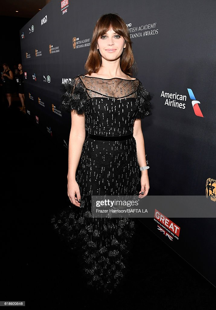 Honoree Felicity Jones attends the 2016 AMD British Academy Britannia Awards presented by Jaguar Land Rover and American Airlines at The Beverly Hilton Hotel on October 28, 2016 in Beverly Hills, California.