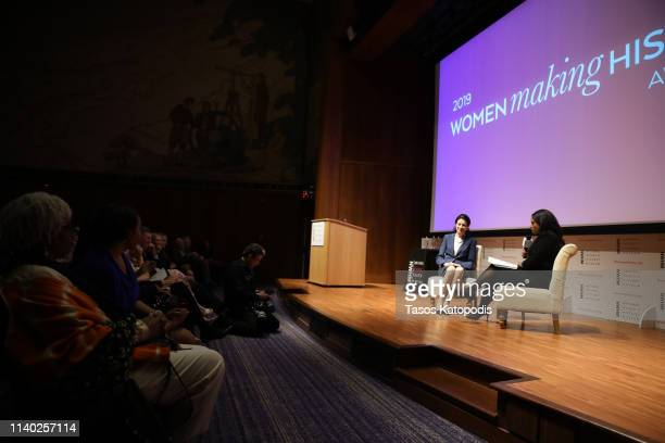 Honoree Former US Senator Olympia J Snowe and Kristen Welker speak onstage during the National Women's History Museum's Women Making History Awards...