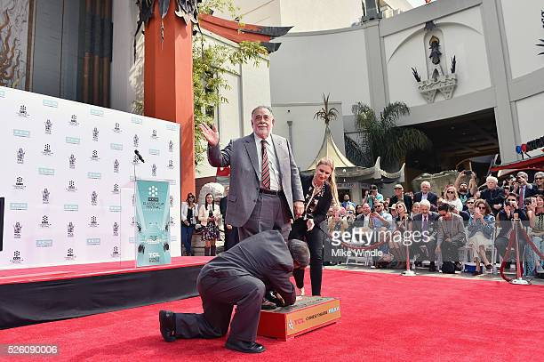 Honoree Francis Ford Coppola and CEO of TCL Chinese Theatres Alwyn Hight Kushner attend the Francis Ford Coppola Hand and Footprint Ceremony during...