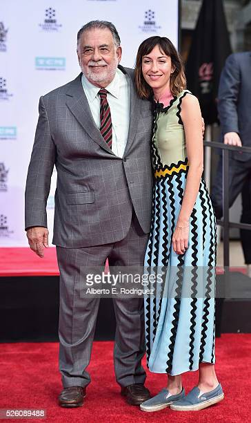 Honoree Francis Ford Coppola and director Gia Coppola attend the Francis Ford Coppola Hand and Footprint Ceremony during the TCM Classic Film...