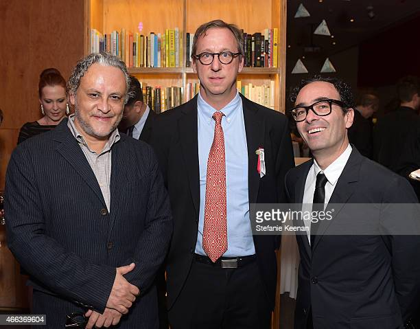 Honoree Gabriel Orozco Tim Disney and Jose Kuri attend the 2015 REDCAT Gala Honoring Jamie And Michael Lynton And Gabriel Orozco at REDCAT Theater on...