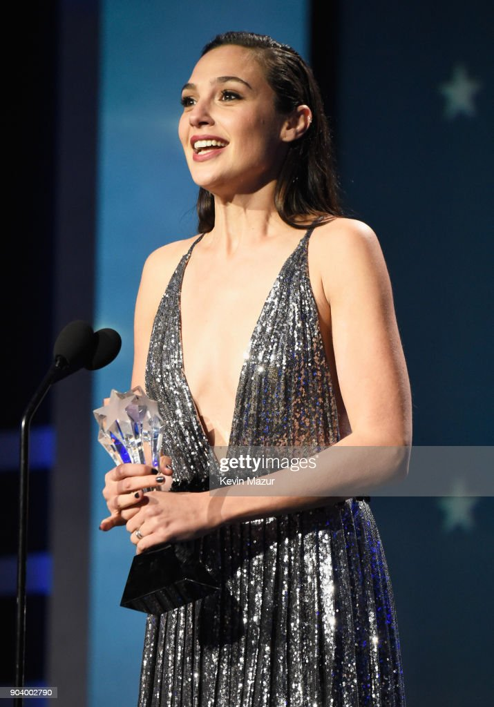 Honoree Gal Gadot accepts the #SeeHer Award onstage during The 23rd Annual Critics' Choice Awards at Barker Hangar on January 11, 2018 in Santa Monica, California.