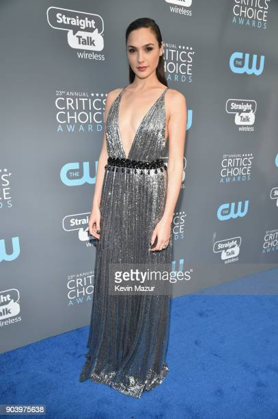 Honoree Gal Gadot attends The 23rd Annual Critics' Choice Awards at Barker Hangar on January 11 2018 in Santa Monica California