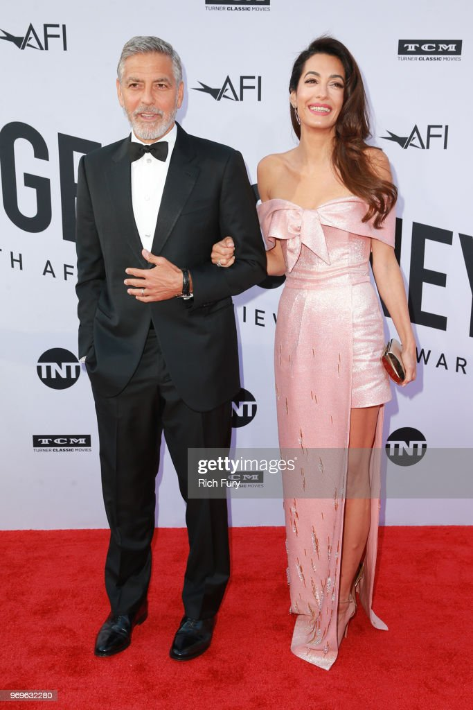 Amal Clooney Hairstyle Red Carpet Amal Clooney Pink Off-Shoulder Gown Prada Red Carpet George Clooney Life Achievement Award Gala Tribute AFI