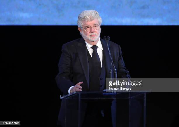Honoree George Lucas accepts an award onstage during the 2017 LACMA Art + Film Gala Honoring Mark Bradford and George Lucas presented by Gucci at...