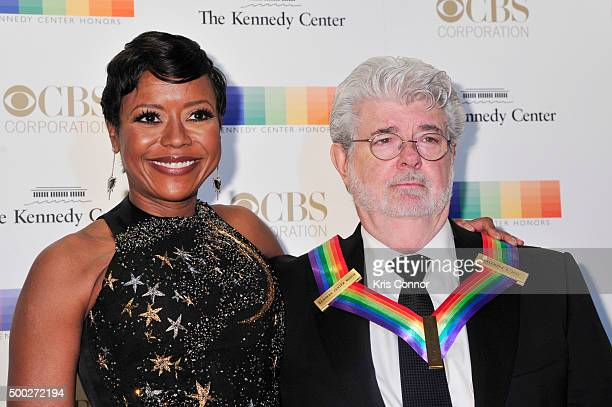 Honoree George Lucas and Mellody Hobson arrive at the 38th Annual Kennedy Center Honors Gala at the Kennedy Center for the Performing Arts on...