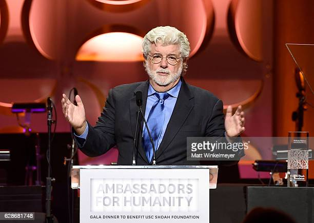 Honoree George Lucas speaks onstage at the Ambassadors for Humanity Gala Benefiting USC Shoah Foundation at The Ray Dolby Ballroom at Hollywood...