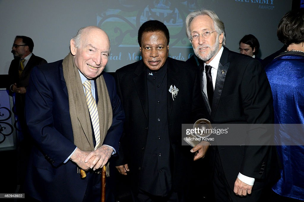 Honoree George Wein, honoree Wayne Shorter, and President/CEO of The Recording Academy and GRAMMY Foundation President/CEO Neil Portnow attend The 57th Annual GRAMMY Awards - Special Merit Awards Ceremony on February 7, 2015 in Los Angeles, California.
