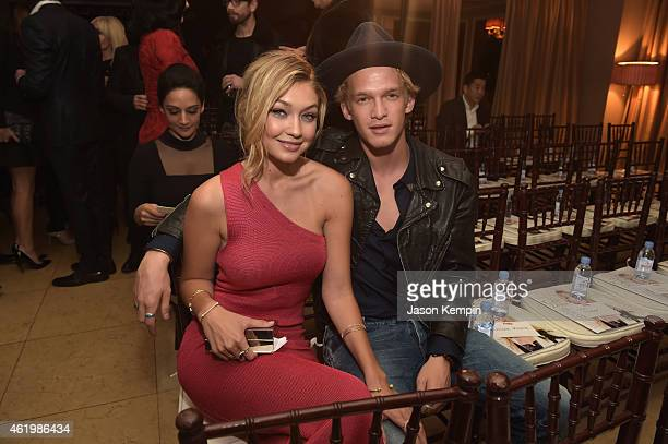 Honoree Gigi Hadid and singer Cody Simpson attend The DAILY FRONT ROW 'Fashion Los Angeles Awards' Show at Sunset Tower on January 22 2015 in West...