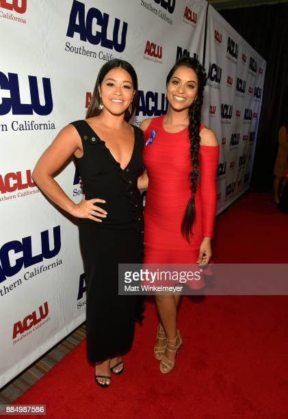 Honoree Gina Rodriguez and Lilly Singh attend ACLU SoCal Hosts Annual Bill of Rights Dinner at the Beverly Wilshire Four Seasons Hotel on December 3...