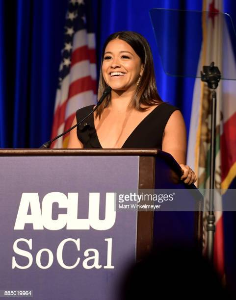 Honoree Gina Rodriguez speaks onstage at ACLU SoCal Hosts Annual Bill of Rights Dinner at the Beverly Wilshire Four Seasons Hotel on December 3 2017...